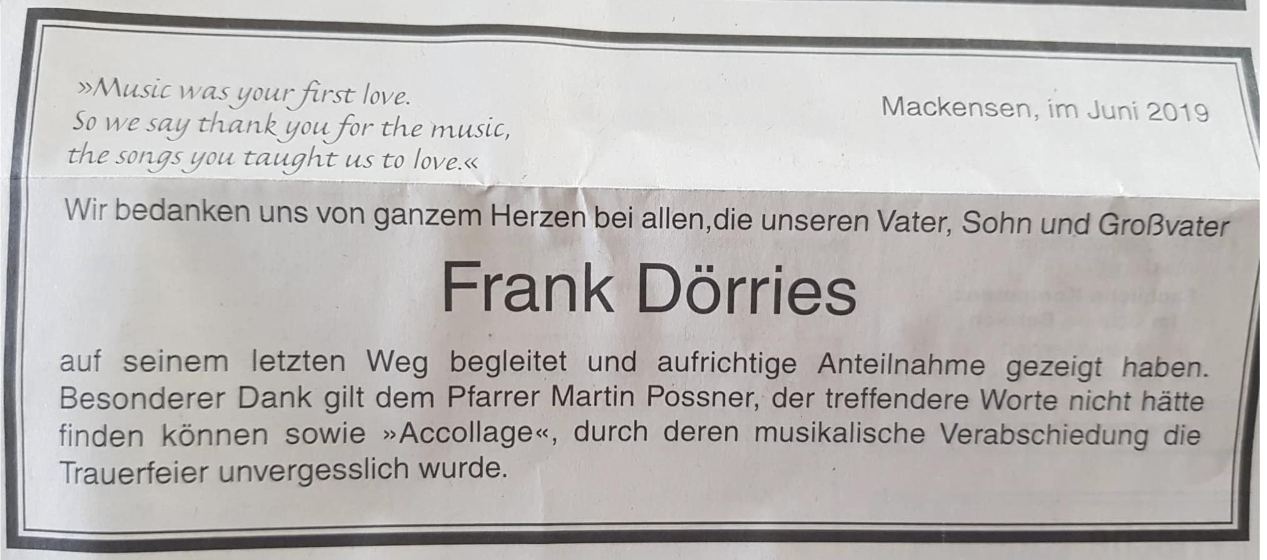 In memoriam Frank Dörries